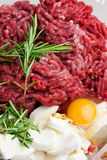Minced meat with thyme, mozzarella and egg Royalty Free Stock Images