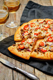 Minced meat tomato red onion pizza Royalty Free Stock Images
