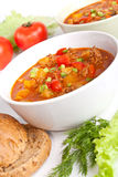Minced meat and vegetable tomato soup Royalty Free Stock Photos