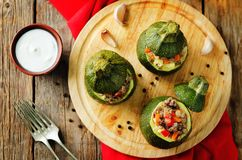 Minced meat vegetables stuffed Zucchini Stock Photo