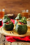 Minced meat vegetables stuffed Zucchini Stock Photos