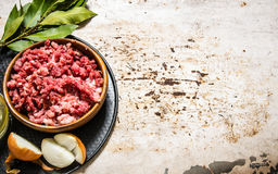 Minced meat in a wooden bowl with spices and oil. On rustic background. Free space for text Stock Images