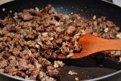 Minced mięso smaży Obrazy Stock