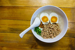 Minced pork congee Royalty Free Stock Photography
