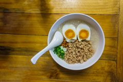 Minced Pork Congee With Egg Royalty Free Stock Photography