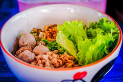 Minced pork noodles. Noodles thaistyle at Ban Wing Nong Long in Lamphun,Thailand Royalty Free Stock Image