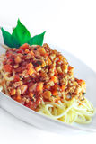 Minced pork spaghetti stir sauce. In the white plate Royalty Free Stock Images