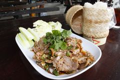 Minced pork. Spicy pork-Lao food,Minced pork Royalty Free Stock Photography