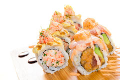 Minced salmon sushi maki Stock Photos