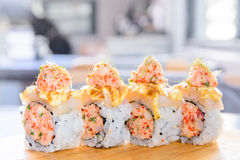 Minced salmon sushi maki Royalty Free Stock Images