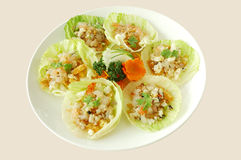Minced shrimp with lettuce. Chinese cuisine. yumcha, chinese food Royalty Free Stock Photo