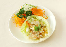 Minced shrimp with lettuce. Chinese cuisine. yumcha, chinese food Stock Image