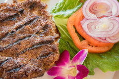 Minced steak burger Hawaiian style Royalty Free Stock Photos