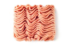 Raw minced meat isolated on white background. Minced turkey meat on a white background stock photos
