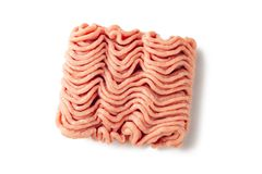 Raw minced meat isolated on white background. Minced turkey meat on a white background royalty free stock photo