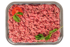Mincemeat. Fresh raw minced meat on a tray Royalty Free Stock Image