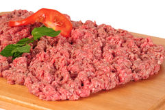 Mincemeat. Fresh raw minced meat on a tray Stock Image