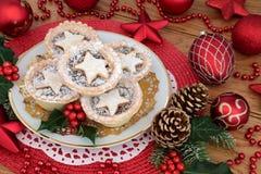 Minces pies d'étoile de Noël Images libres de droits