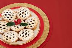 Minces pies treillagées par Noël photographie stock libre de droits
