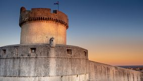 Minceta fortress of old town Dubrovnik at sunset stock images
