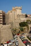 Minceta tower and city walls. Dubrovnik. Croatia. The monumental Minceta tower and the city defensive walls. Dubrovnik. Croatia Royalty Free Stock Photo