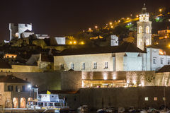 Minceta tower and dominican monastery. Dubrovnik. Croatia. Minceta tower and dominican monastery at night. Dubrovnik. Croatia Stock Photo