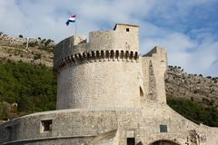 Minceta Tower Tvrdava Minceta, the strong fort and the highest point of Dubrovnik City Walls Royalty Free Stock Photo