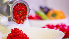 Mincing Hasher Grinding Red Paprika stock footage
