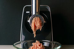 Mincing machine and meat Royalty Free Stock Photo
