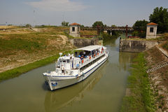 Mincio-Fluss in Govèrnolo-Bereich, Mantua Italien Lizenzfreie Stockfotos