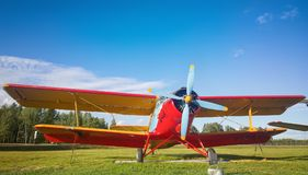 Minck, Belarus-June13, 2017: Old AN-2 biplane plane near the airport building. Minsk National Airport stock photo