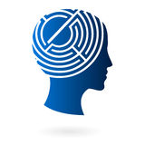 Mind as labyrinth vector. Vector illustration of human head as silhouette on profile, with labyrinth on brain area, related to troubled and stressed mind Royalty Free Stock Photography
