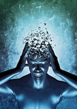Mind blowing. 3D render of mental anguish concept Royalty Free Stock Images
