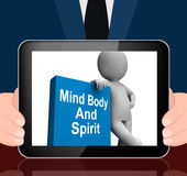 Mind Body And Spirit Book With Character Displays Holistic Books Royalty Free Stock Images