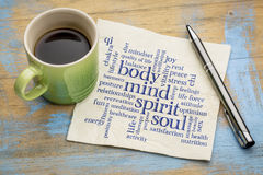 Mind, body, spirit and soul word cloud. Mind, body, spirit and soul concept  - word cloud on a napkin with a cup of coffee Royalty Free Stock Image