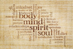 Mind, body, spirit and soul word cloud. Mind, body, spirit and soul concept  - word cloud on a papyrus paper Royalty Free Stock Photography