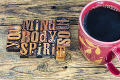 Mind body spirit soul you coffee royalty free stock photos