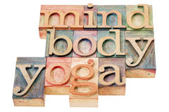 Mind, body, yoga word abstract. Isolated text in letterpress wood type printing blocks royalty free stock photo