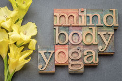 Mind, body, yoga word abstract. Text in letterpress wood type printing blocks against slate stone with yellow gladiola flower royalty free stock photo