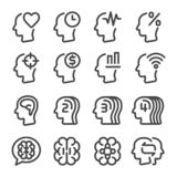 Mind and brain line icon set. Mind and brain thin line icon set,vector and illustration stock illustration