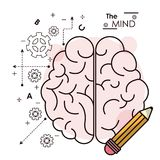 The mind brain pencil idea creativity intelligence collaboration outline. Vector illustration Stock Images