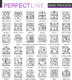 Mind brain process outline mini concept symbols. Imagination and mind power modern stroke linear style illustrations set. Perfect thin line icons Stock Photo