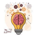 The mind bulb brain gears idea intelligence design. Vector illustration Stock Image