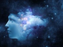 Mind Burst. Universal Mind series. Background composition of  human head and fractal clouds to complement your layouts on the subject of mind, dreams, thinking Royalty Free Stock Image