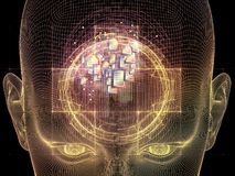 Mind Energy. Frame of Mind series. Backdrop of human face wire-frame and document elements on the subject of mind, reason, thought, mental powers and mystic Stock Photography