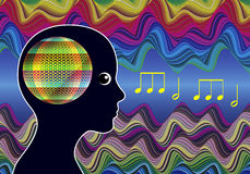 Mind Expanding Music. Woman listens to healing sounds expanding her consciousness Royalty Free Stock Photos