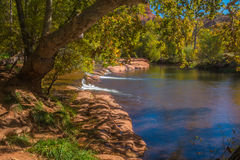The Mind Expanding World of Sedona. View of the creek below cathedral rock in Sedona Arizona Royalty Free Stock Images