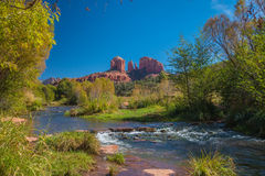 The Mind Expanding World of Sedona. View of the creek with cathedral rock in Sedona Arizona Stock Photo