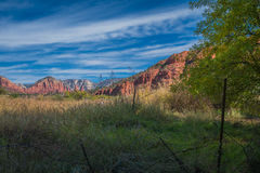 The Mind Expanding World of Sedona. View of the meadow and red rock in Sedona Arizona Stock Photos