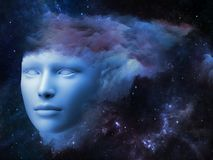 Mind Fog. Fractal Mind series. Design made of human head and fractal clouds to serve as backdrop for projects related to mind, dreams, thinking, consciousness Royalty Free Stock Photography